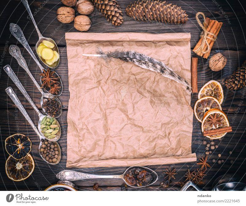Speise Holz braun oben retro Feder Papier Kräuter & Gewürze Getränk heiß Alkohol Zucker Topf festlich rustikal Zutaten