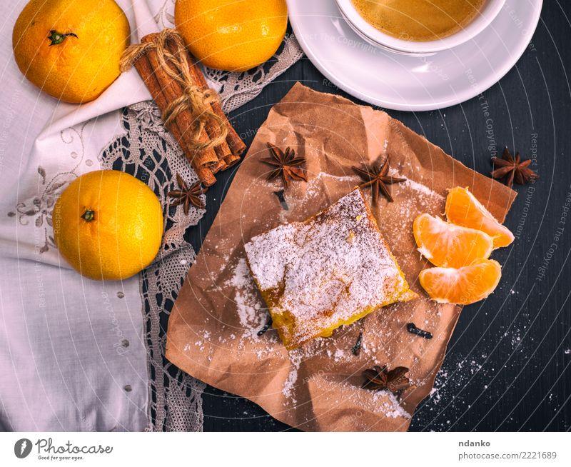 Mandarinenpastete und Tasse Kaffee Frucht Dessert Ernährung Frühstück Getränk Heißgetränk Becher Tisch Holz Essen frisch lecker natürlich braun gelb schwarz