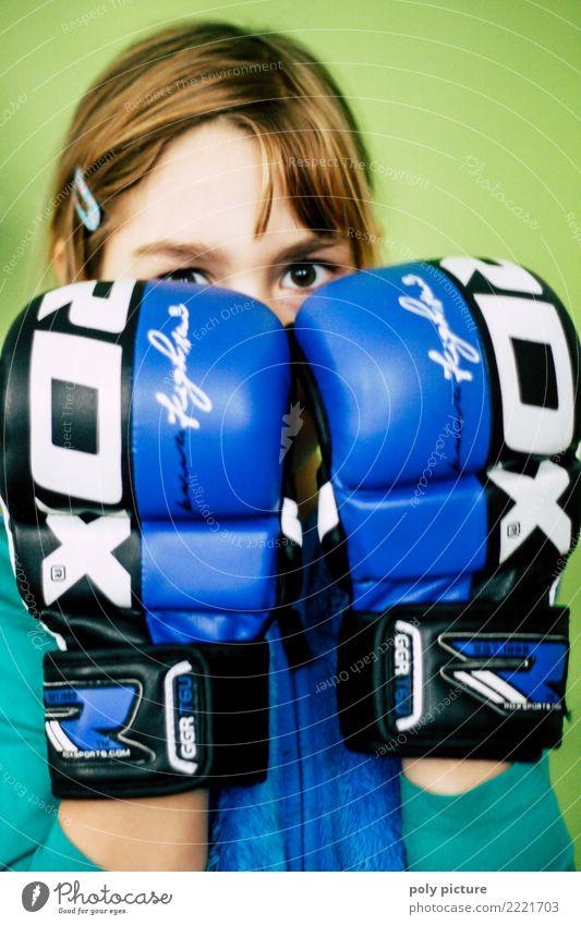 Boxing Girl! sportlich Fitness Sport Sport-Training Kampfsport feminin Junge Frau Jugendliche Leben Kopf 8-13 Jahre Kind Kindheit 13-18 Jahre Aggression Gefühle