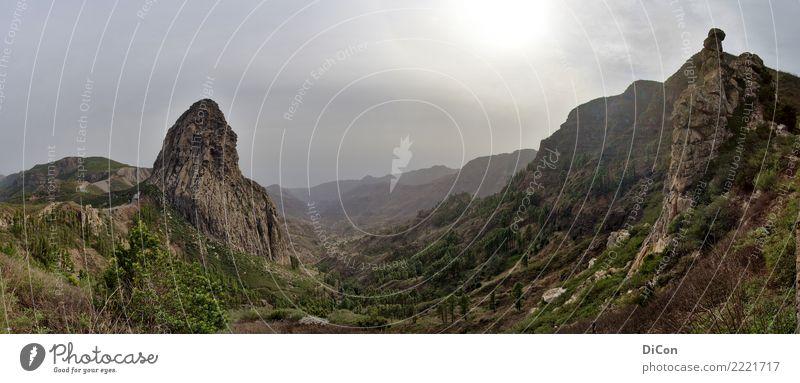 Los Roques Landschaft Felsen Gomera Fernweh los roques Roque de Agando Farbfoto Außenaufnahme Tag Gegenlicht Panorama (Aussicht)