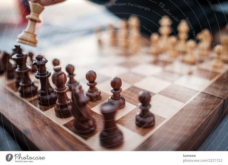 Schachmatt Schachbrett Schachfigur Spielen braun Freizeit & Hobby planen Unschärfe Brettspiel Farbfoto Schwache Tiefenschärfe
