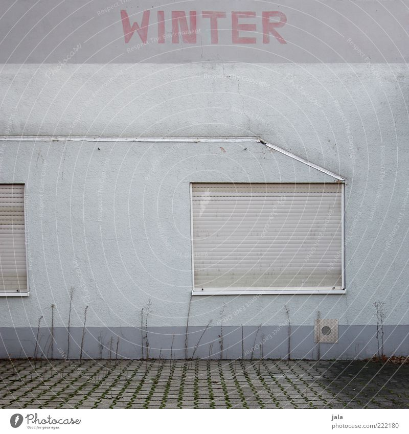 winter alt Winter Wand Fenster grau Mauer Gebäude Architektur Fassade geschlossen trist Schriftzeichen Bauwerk Wort Rollladen