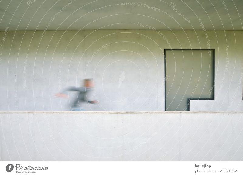 run for cover Mensch Kind Junge Kindheit Leben 1 8-13 Jahre Architektur Mauer Wand Fassade Fenster rennen Bauhaus Beton modern grau Balkon terasse Wohnhaus