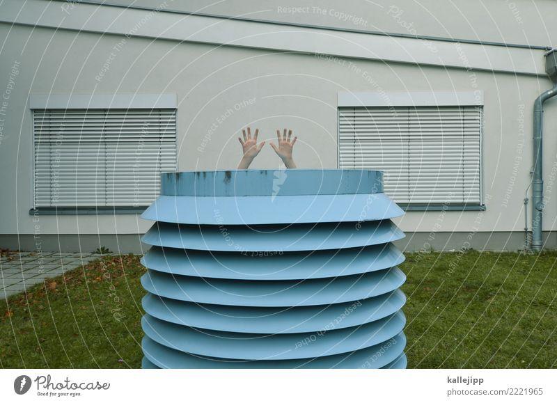 automaton Mensch maskulin Mann Erwachsene Leben Hand Finger 1 Architektur Angst Hilfesuchend Versteck verstecken resignieren Lüftung Lüftungsschlitz Fenster