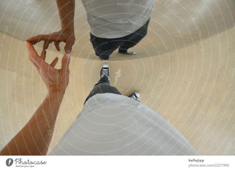 avatar Mensch maskulin Mann Erwachsene Senior Leben Arme Hand Finger 1 Spiegel berühren Spiegelbild Selfie rund Wölbung Wissenschaften Physik Ich Erzählung Ego