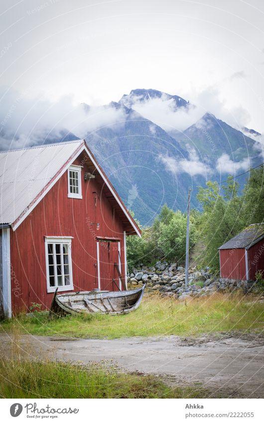 Norwegen! Ferien & Urlaub & Reisen rot Erholung Wolken ruhig Ferne Berge u. Gebirge Küste Tourismus Stimmung Ausflug Zufriedenheit träumen Idylle Kultur