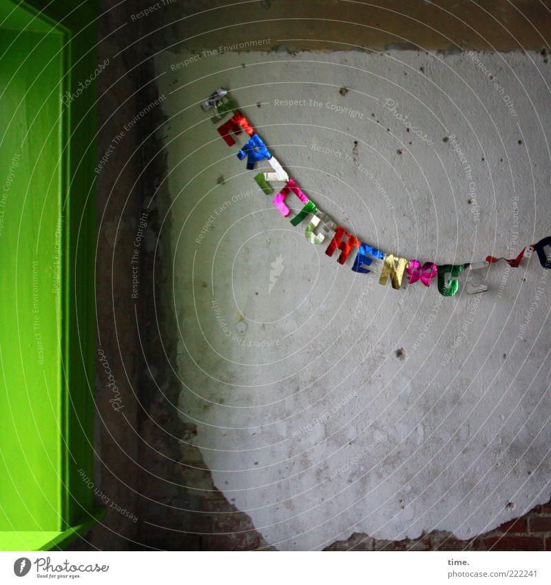 HH10.1 | Alles Gute und heute einen schönen Tag! grün Fenster Wand Mauer Glück Feste & Feiern glänzend Geburtstag leuchten Schnur Typographie Wort Putz kahl