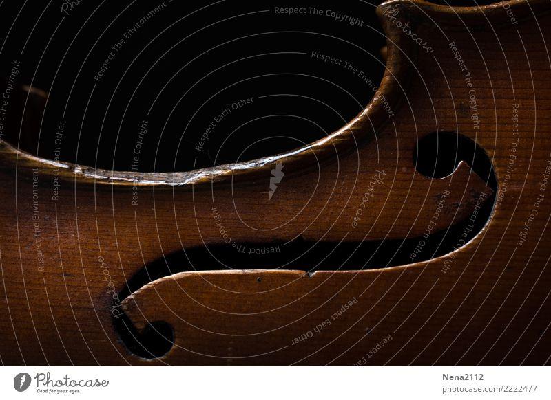 Geige 01 Kunst Musik Musik hören Konzert Open Air Bühne Oper Band Musiker Orchester Cello Streichinstrumente Saiteninstrumente Musikinstrument Holz nobel Loch