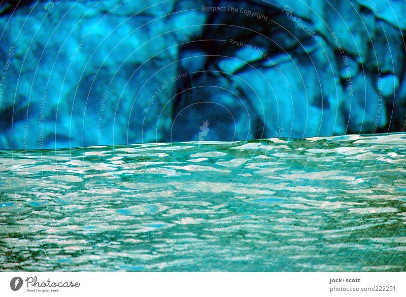 Wassersperre Felsen Stein Streifen Bewegung einfach Flüssigkeit glänzend Wärme blau grün Stimmung Schutz Warmherzigkeit Ordnungsliebe Genauigkeit rein Umwelt