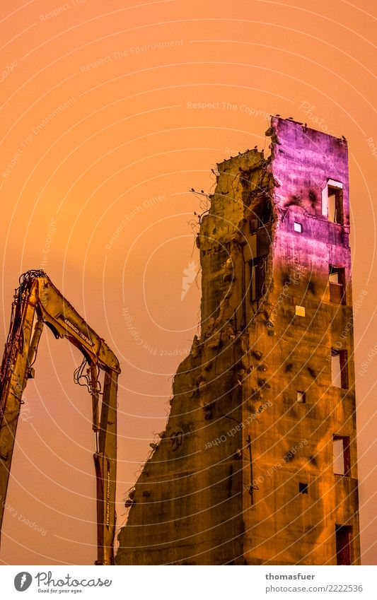 der Aufschwung bei der Arbeit Haus Berlin orange Hochhaus gold Vergänglichkeit Beton Baustelle Hauptstadt Stadtzentrum Sightseeing Ende Arbeitsplatz anstrengen