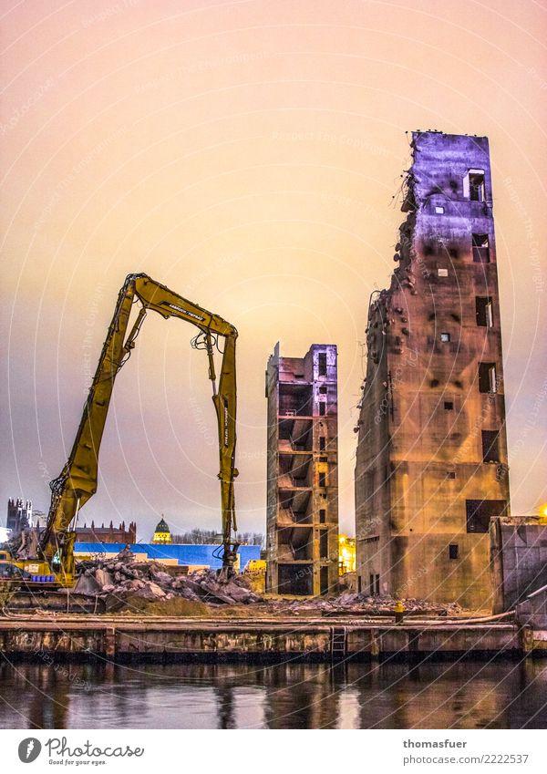 """""""Vergangenheitsbewältigung"""" Stadt dunkel gelb Wand Berlin Mauer orange Arbeit & Erwerbstätigkeit Metall Hochhaus Platz Beton Turm Baustelle Sehenswürdigkeit"""