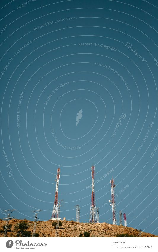 voller empfang Sommer Ferne trist Zukunft bedrohlich Technik & Technologie Kommunizieren Telekommunikation Schönes Wetter Blauer Himmel Telefonmast Fortschritt