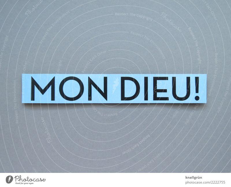 MON DIEU! Schriftzeichen Schilder & Markierungen Kommunizieren eckig blau grau schwarz Gefühle Begeisterung Glaube Überraschung Religion & Glaube Mon Dieu