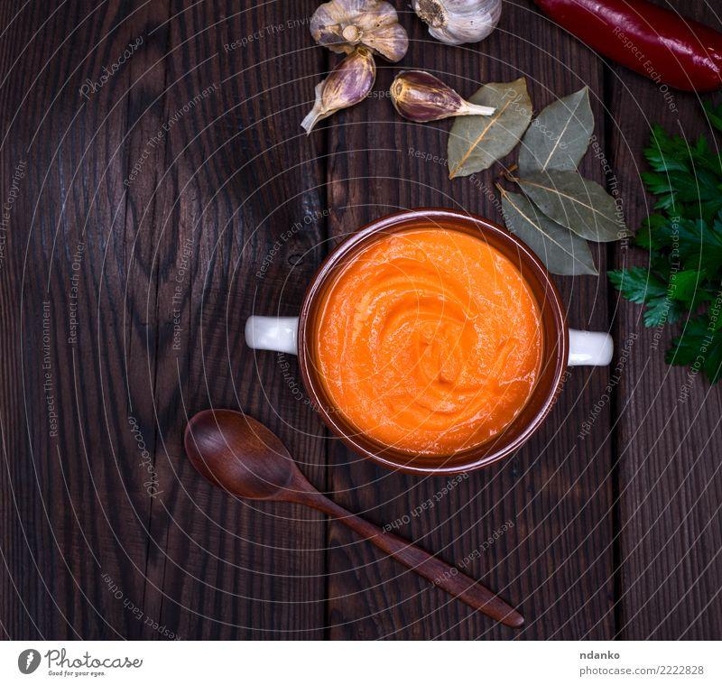 frische Kürbissuppe Natur Speise Essen Herbst Holz Gesundheitswesen braun orange Dekoration & Verzierung Tisch Kräuter & Gewürze Gemüse Jahreszeiten Ernte heiß