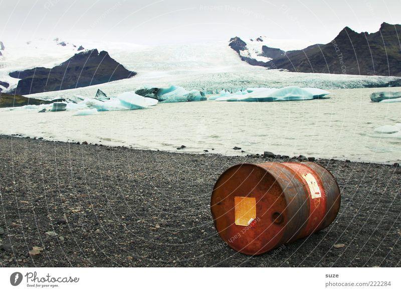 Tonnenverzeichnung Natur Wasser Landschaft Umwelt Berge u. Gebirge kalt Küste Eis liegen Wetter Klima Zukunft Wandel & Veränderung Metallwaren bedrohlich Gipfel