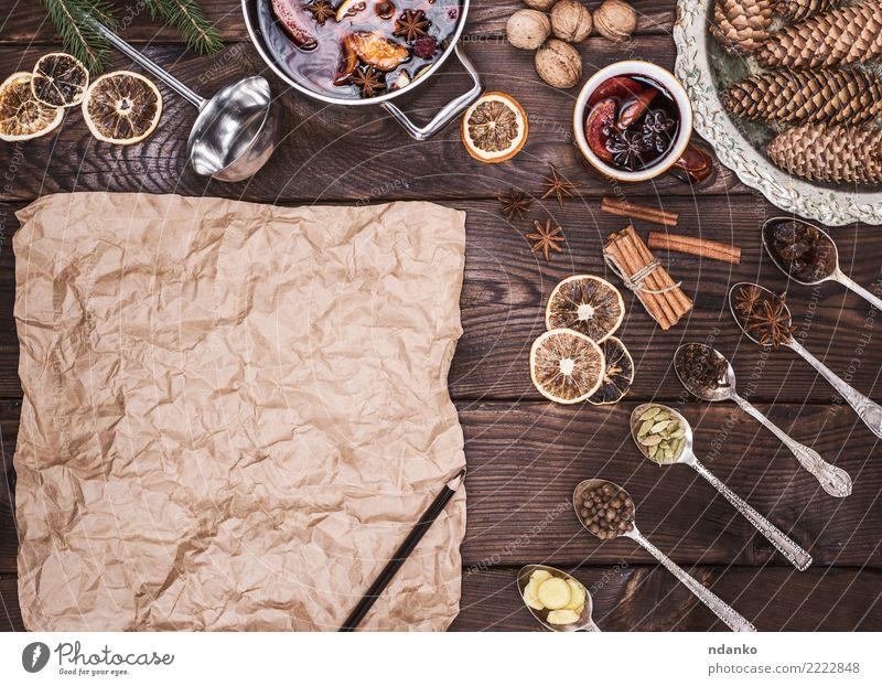 braunes Blatt Papier und Zutaten Kräuter & Gewürze Getränk Alkohol Glühwein Topf Pfanne Weihnachten & Advent Holz heiß oben retro Speise süß trinken Feiertag