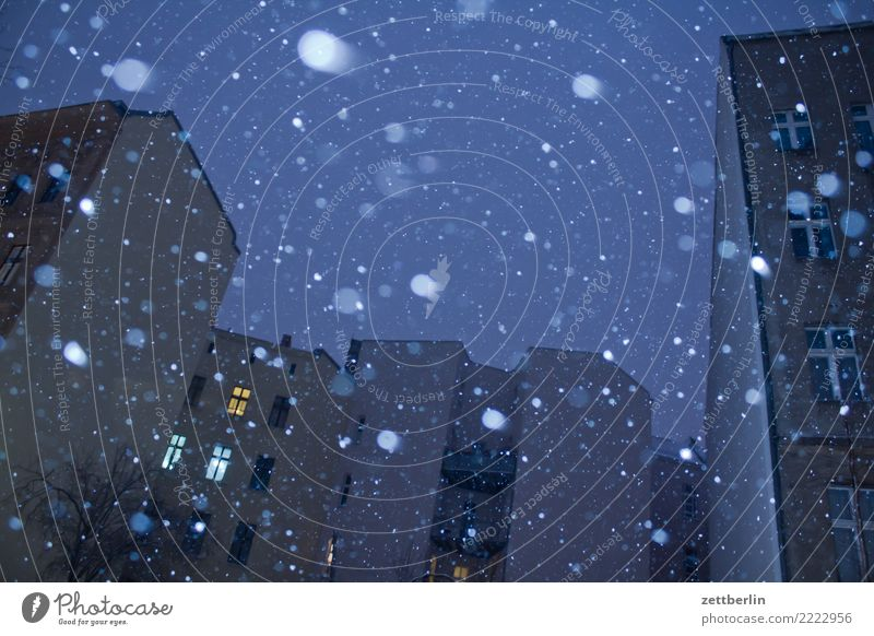 Schneefall Himmel Himmel (Jenseits) Weihnachten & Advent Stadt Haus Winter Fenster dunkel kalt Berlin Gebäude Stadtleben Textfreiraum Häusliches Leben