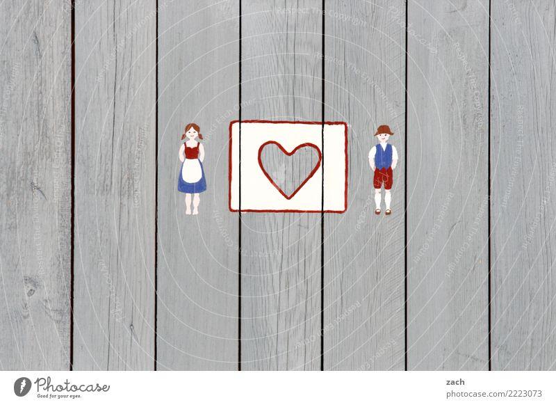 Vom Lieben und Lassen| Sie mögen sich Frau Mensch Mann Haus Erwachsene feminin Paar grau Zusammensein Fassade Freundschaft maskulin Schilder & Markierungen Herz