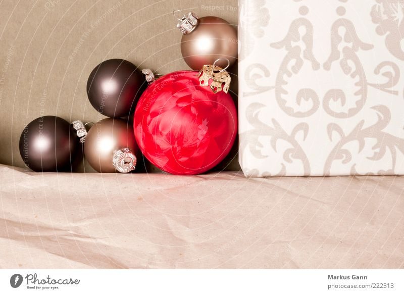 Weihnachtskugeln Winter Feste & Feiern Glas Ornament schön rot Gefühle Vorfreude Hintergrundbild Glaskugel Geschenk Papier Weihnachtsdekoration
