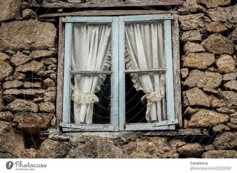 Das was war Einfamilienhaus Gebäude Mauer Wand Fassade Fenster Gardine Stein Holz Glas beobachten hängen Häusliches Leben alt einzigartig kaputt blau braun