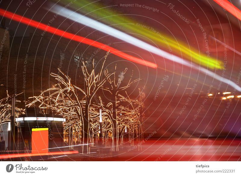berlin frohe weihnachten Stadt Baum Winter Verkehr Geschwindigkeit Streifen Dekoration & Verzierung Weihnachtsbaum Bus Berlin-Mitte Hauptstadt Sehenswürdigkeit Ladengeschäft Kiosk Nachtleben Lichterkette
