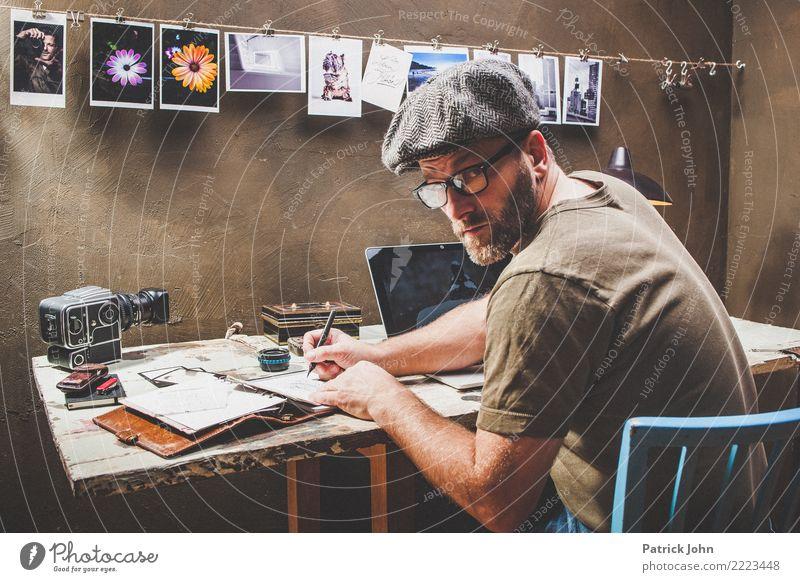 Vintage Office Lifestyle Innenarchitektur Dekoration & Verzierung Schreibtisch Raum Arbeitsplatz Büro Werbebranche Arbeitslosigkeit Ruhestand Feierabend