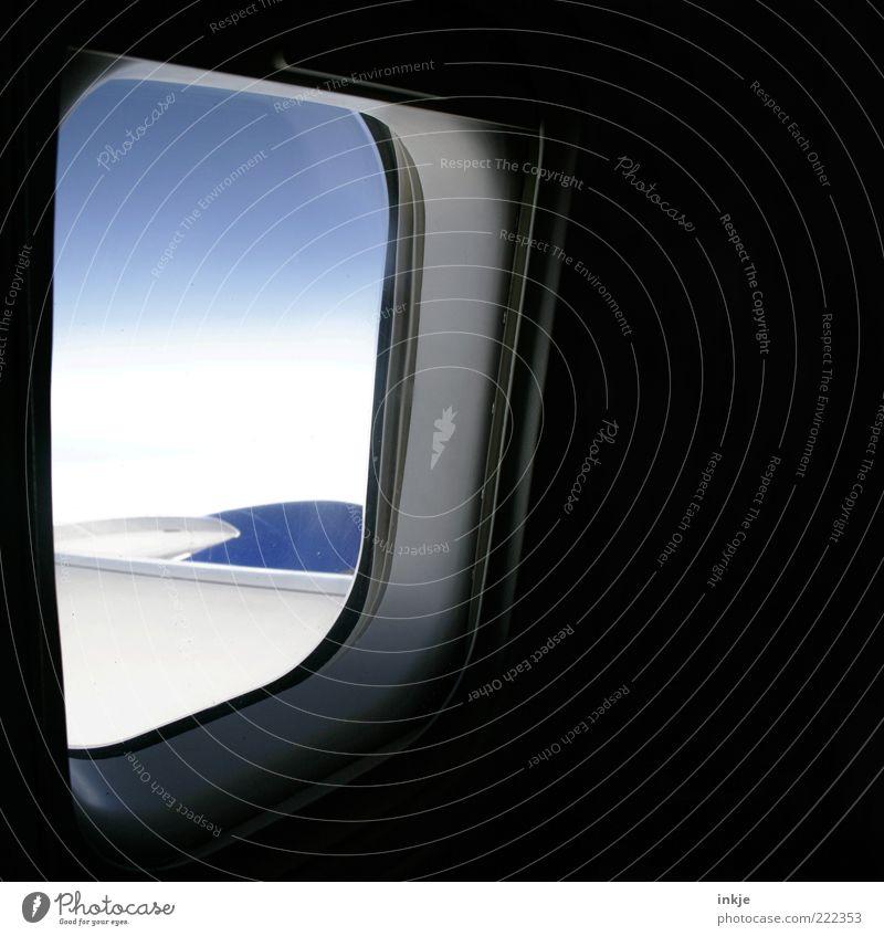 inside/outside Himmel weiß blau Ferien & Urlaub & Reisen schwarz Wolken Ferne Gefühle Fenster Freiheit Stimmung Flugzeug fliegen Luftverkehr Tourismus Sehnsucht