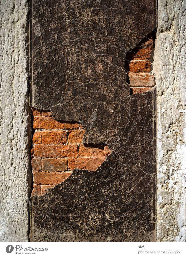 Im Hintergrund weiß rot Haus schwarz Architektur Wand Mauer Tourismus Stein Fassade retro Vergänglichkeit kaputt Italien historisch Wandel & Veränderung
