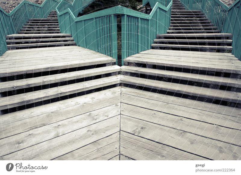 deine Entscheidung Treppe Treppengeländer beweglich türkis Auswahl wählen Trennung rechts links Wege & Pfade möglich Farbfoto Außenaufnahme Menschenleer