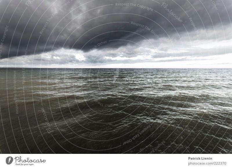 Infinity Umwelt Natur Urelemente Luft Wasser Erde Wolken Gewitterwolken Klima Wetter schlechtes Wetter Unwetter Wind Sturm Regen Wellen Ostsee Meer dunkel kalt