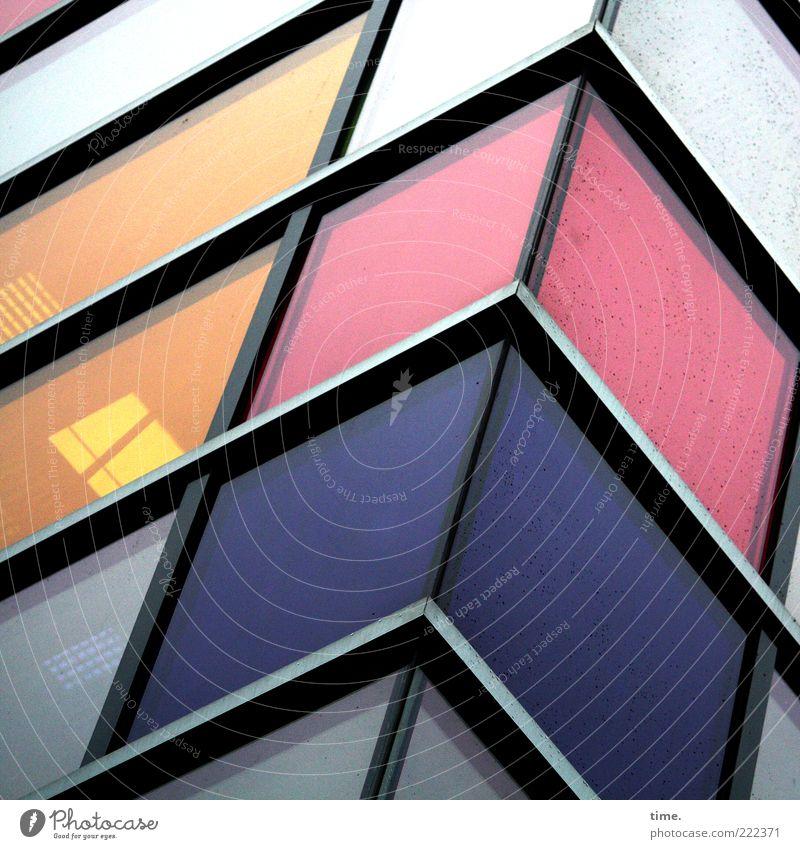 HH10.2 | Money For Honey Haus Lampe Gebäude Fassade Fenster Sehenswürdigkeit Stahl blau gelb violett Farbe Glasfassade diagonal Ecke Oberlicht erleuchten