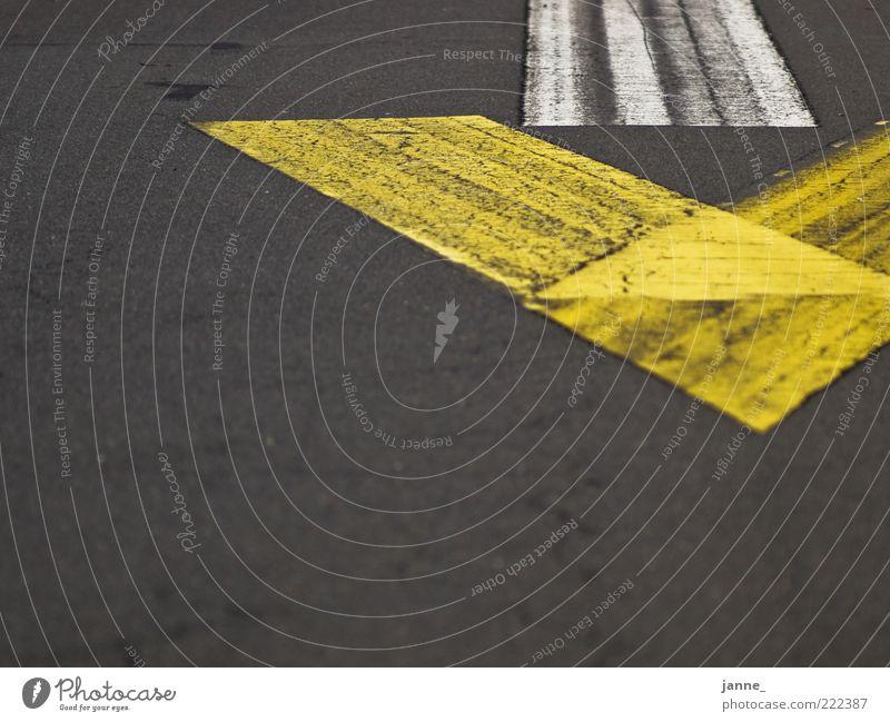 richtungsweisend weiß gelb Straße grau Asphalt Pfeil Zeichen Teer Fahrbahnmarkierung