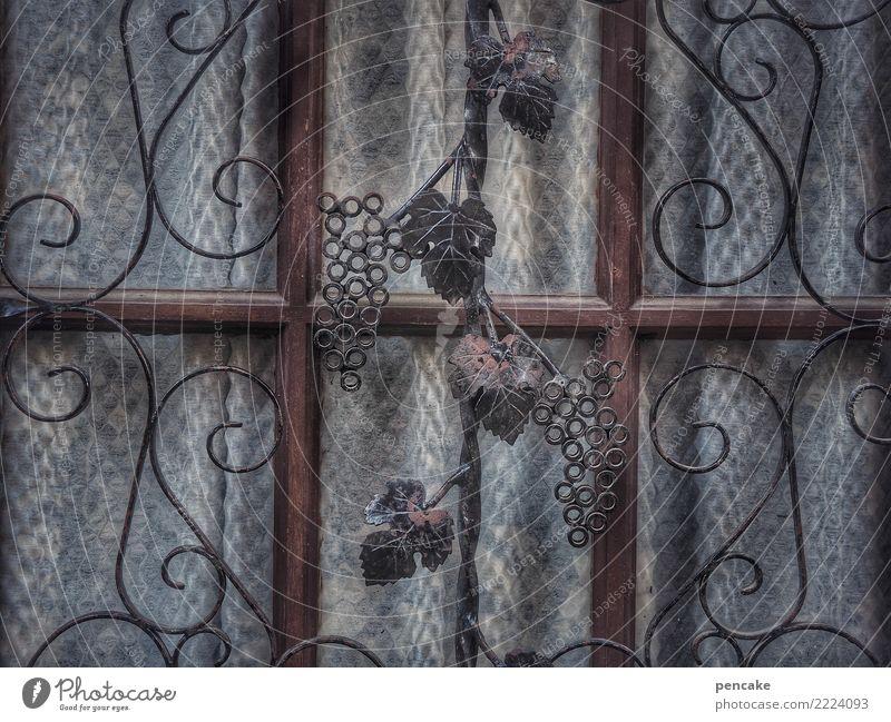 wo der wein zu hause ist Altstadt Tür Glas Metall Zeichen Ornament alt Stadt Elsass Wein stilistisch Schmiedekunst Schmiedeeisen Häusliches Leben Farbfoto