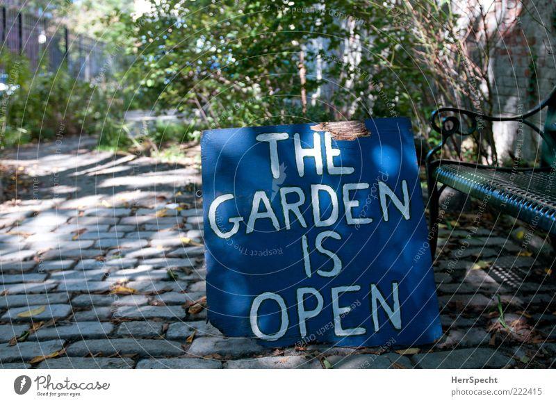 Brooklyn Public Garden Pflanze Garten Stein Holz Metall Schriftzeichen Schilder & Markierungen blau grau grün offen Hinweis Kopfsteinpflaster Parkbank Farbfoto