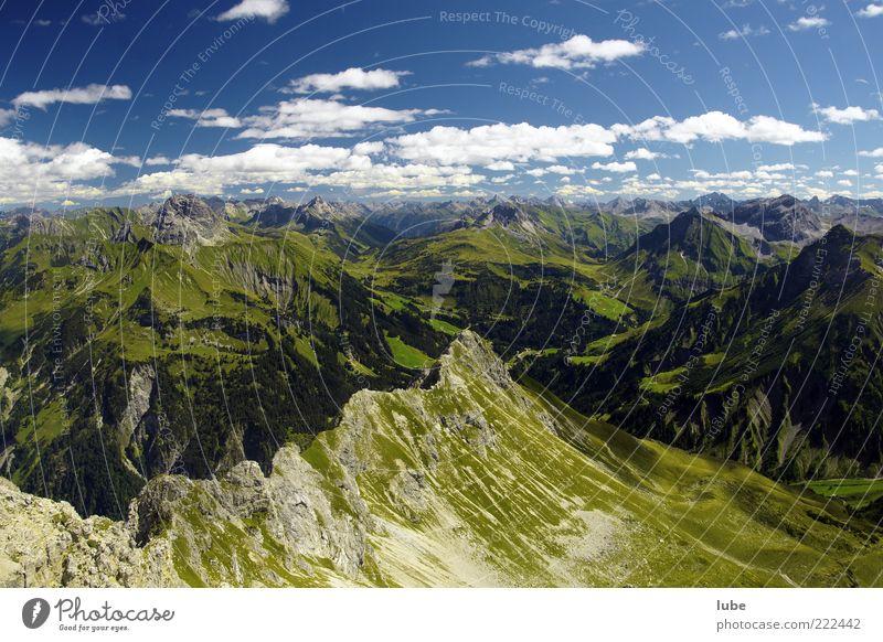 Weitsicht Ferien & Urlaub & Reisen Tourismus Ausflug Ferne Freiheit Sommer Sommerurlaub Berge u. Gebirge Umwelt Natur Landschaft Wolken Klima Schönes Wetter