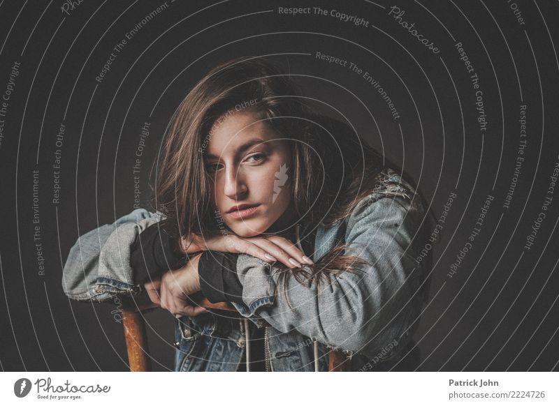 Teen Mensch Jugendliche Junge Frau schön Traurigkeit natürlich feminin Schule Stimmung Zufriedenheit 13-18 Jahre blond Sex Coolness Jacke langhaarig