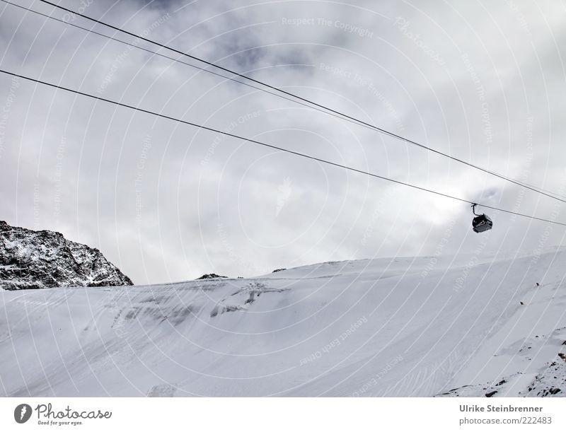 Saisonstart Himmel Winter Wolken kalt Schnee Berge u. Gebirge Eis Felsen Alpen Stahlkabel aufwärts Österreich Gletscher Personenverkehr Berghang Wintersport