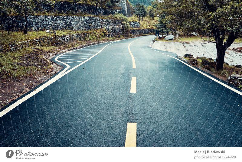 Nasse Asphaltstraße an einem regnerischen Tag. Ferien & Urlaub & Reisen Ausflug Ferne Freiheit Expedition Fahrradtour Regen Baum Straße Autobahn dunkel nass