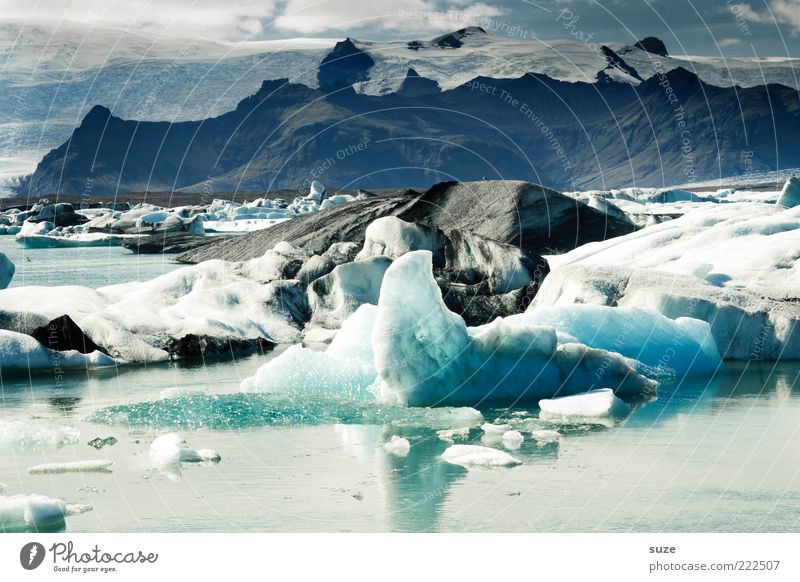 es ist kalt Ferne Berge u. Gebirge Umwelt Natur Landschaft Urelemente Wasser Wolken Klima Klimawandel Eis Frost Gletscher See Gletschereis Gebirgssee