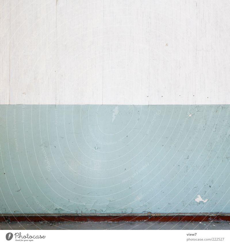 graublau Innenarchitektur Dekoration & Verzierung Raum Mauer Wand Stein Beton Streifen alt einfach kalt oben trist ästhetisch einzigartig Kreativität rein Ferne