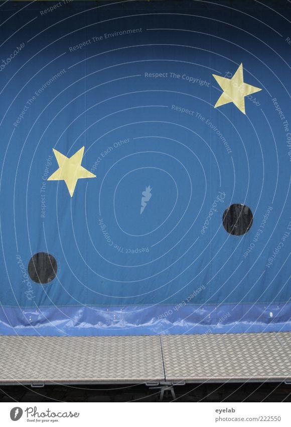 Sonne, Mond und Sterne Himmel blau gelb Fenster grau Metall 2 lustig Stern Fassade geschlossen retro Dekoration & Verzierung Kitsch Spitze Zeichen