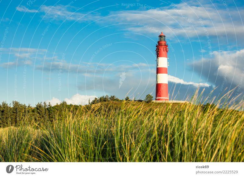 Leuchtturm in Wittdün auf der Insel Amrum Natur Ferien & Urlaub & Reisen blau Landschaft rot Wolken Architektur Umwelt Herbst Küste Tourismus Sehenswürdigkeit