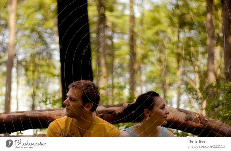 gemeinsam Schweigen Frau Mann Baum Sommer ruhig Wald Zusammensein Tierpaar sitzen Sehnsucht nachdenklich Baumstamm Mensch Pflanze Junge Frau schweigen