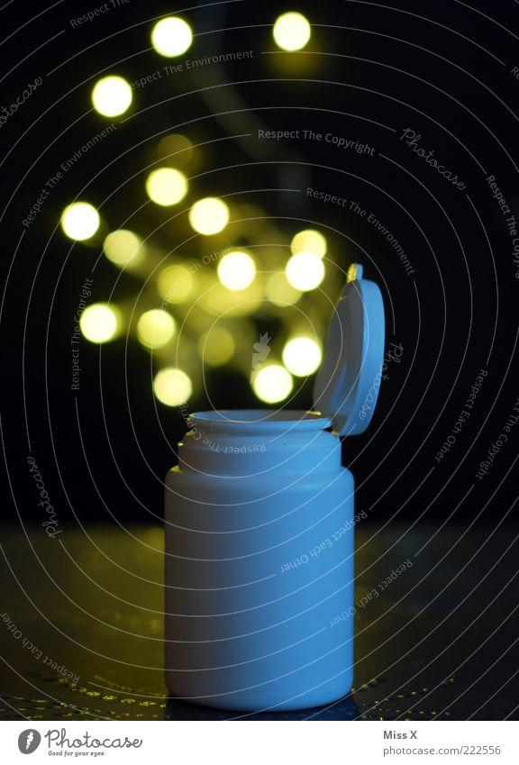 Wunderdroge Gesundheit hell fliegen Gesundheitswesen offen leuchten Punkt Medikament Rauschmittel Rausch Sucht Dose Tablette aufmachen Lichteffekt Drogensucht
