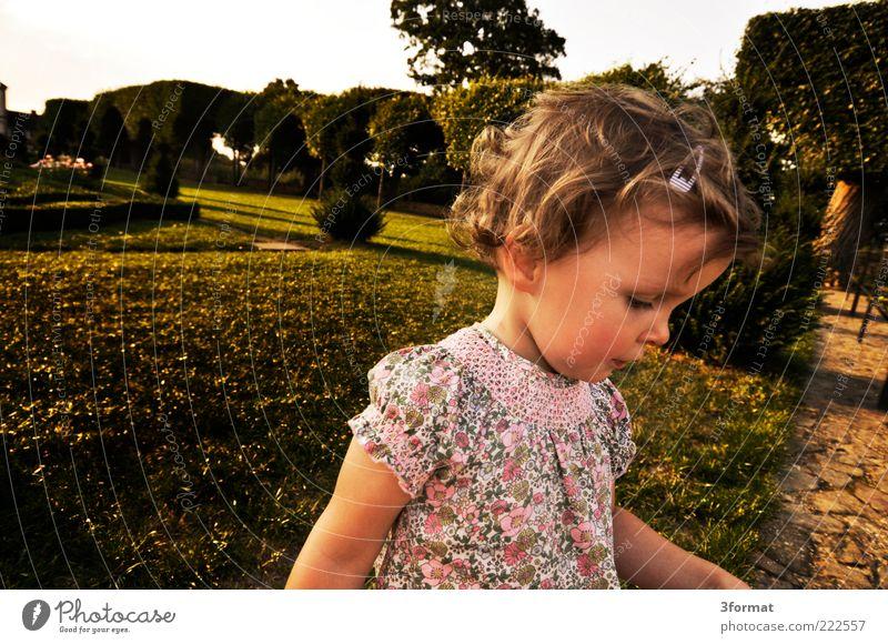 KLARA Mensch grün schön Mädchen Sommer Gesicht gelb Wiese Leben Landschaft Spielen Gefühle Wege & Pfade Kopf klein Garten