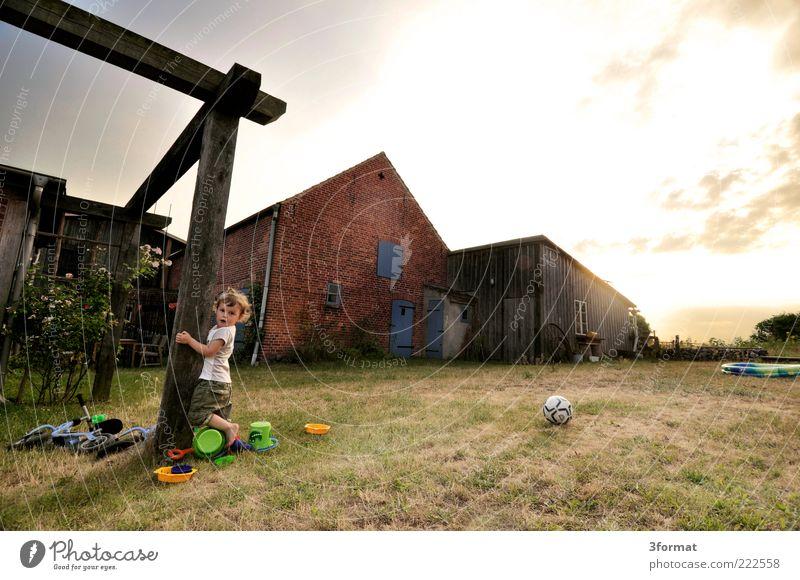 KLARA Kleinkind Mädchen 1 Mensch 1-3 Jahre Natur Sonnenaufgang Sonnenuntergang Sommer Haus Hütte Garten entdecken festhalten Spielen stehen frech frei