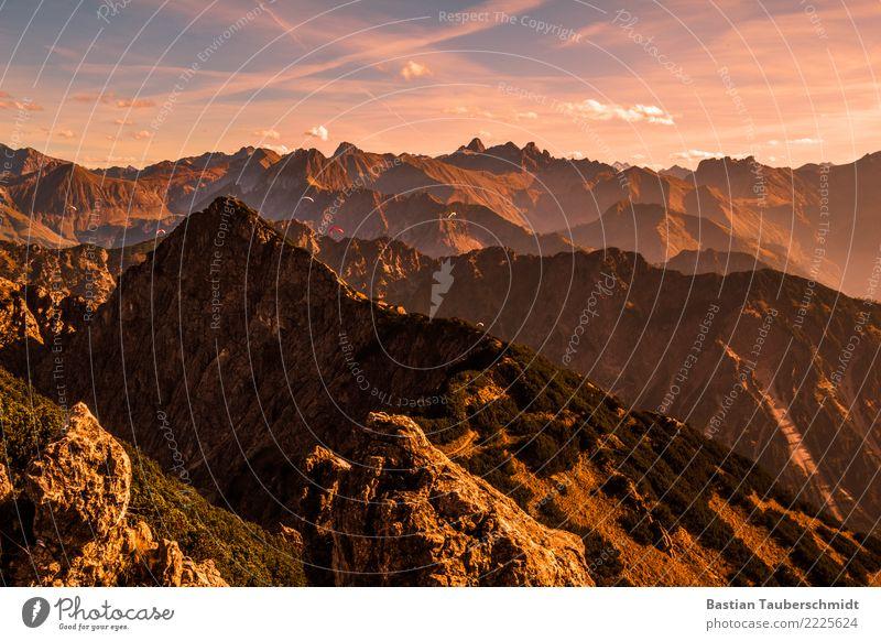 Sonnenuntergang am Rubihorn Fitness Berge u. Gebirge wandern Klettern Bergsteigen Gleitschirmfliegen Natur Landschaft Pflanze Himmel Wolken Horizont