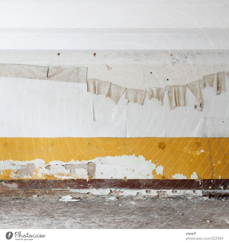 gelb alt gelb kalt Wand Stein Mauer Linie Raum gehen elegant Design frisch trist authentisch Streifen Bodenbelag