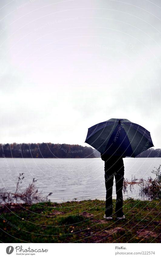Dreckswetter am See Ausflug Ferne Mensch feminin Junge Frau Jugendliche 1 18-30 Jahre Erwachsene Natur Wasser Wolken Herbst schlechtes Wetter Regen Gras Seeufer