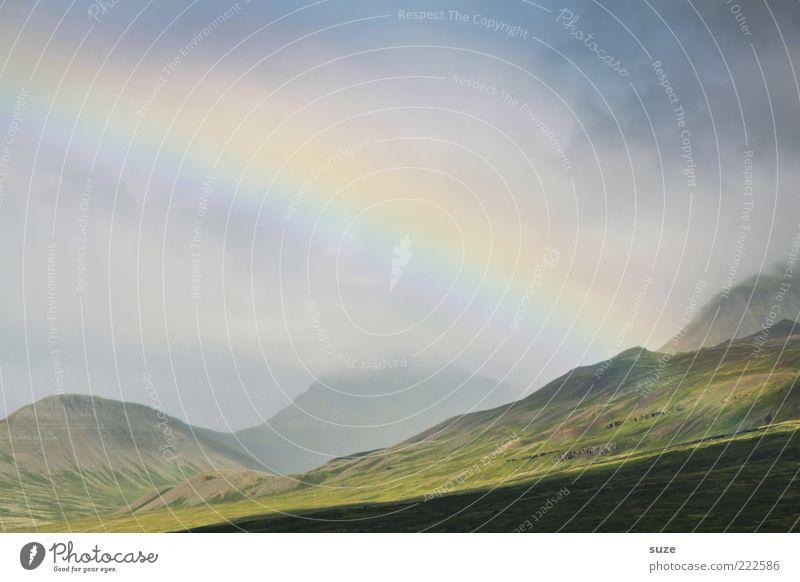 nice we una Umwelt Natur Landschaft Urelemente Himmel Wolken Sommer Wetter Berge u. Gebirge leuchten außergewöhnlich fantastisch schön Island Regenbogen